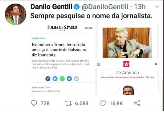 Reprodução de tuíte de Danilo Gentili