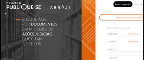 Abraji lança maior ferramenta do Brasil para encontrar ações judiciais citando políticos