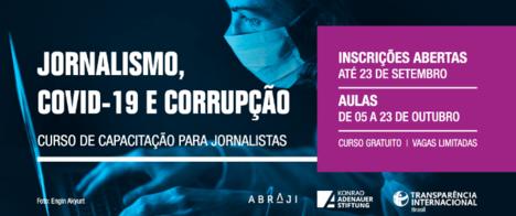 Abraji e TI Brasil divulgam os 80 selecionados para curso sobre pandemia e corrupção