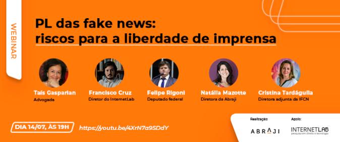 Abraji e InternetLab promovem webinar sobre PL das fake news