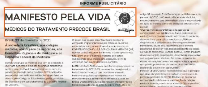 Informe publicitário em defesa de tratamento precoce contra covid-19 abre debate sobre ética da imprensa