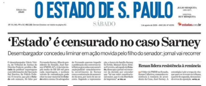 Após 9 anos, STF derruba censura prévia contra O Estado de S.Paulo